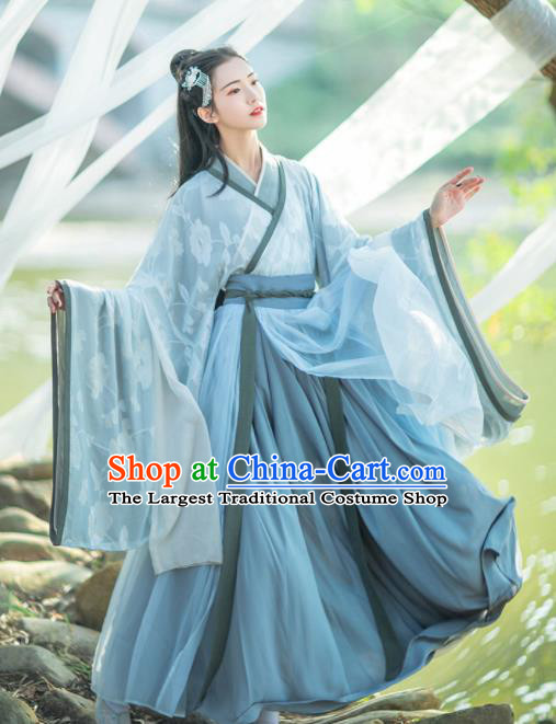 Chinese Traditional Jin Dynasty Imperial Consort Embroidered Hanfu Dress Ancient Peri Historical Costume for Women