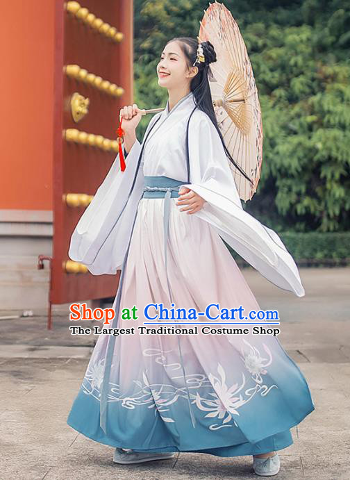 Chinese Ancient Court Maid Hanfu Dress Traditional Han Dynasty Princess Palace Lady Embroidered Historical Costume for Women