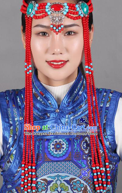 Chinese Mongolian Ethnic Tassel Hair Accessories Traditional Mongol Nationality Folk Dance Red Beads Headband for Kids