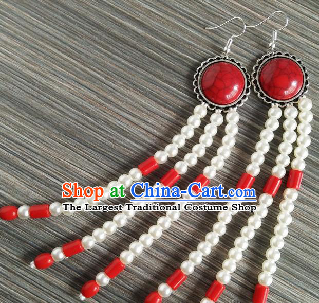 Traditional Chinese Mongol Nationality Ear Accessories Mongolian Ethnic Folk Dance Earrings for Women
