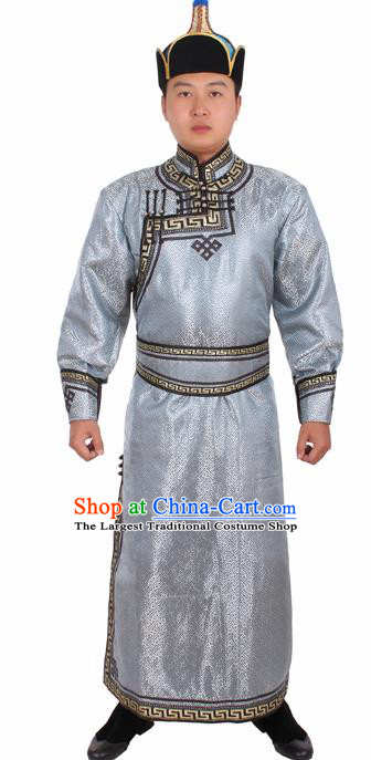 Chinese Ethnic Prince Costume Grey Mongolian Robe Traditional Mongol Nationality Folk Dance Clothing for Men