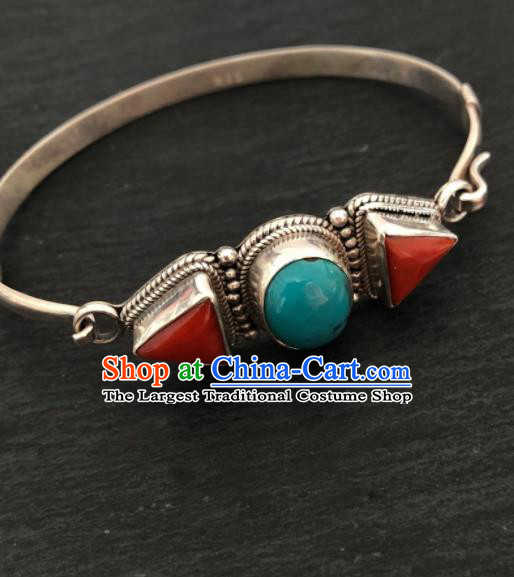 Traditional Chinese Mongol Nationality Bracelet Accessories Mongolian Ethnic Sliver Bangle for Women
