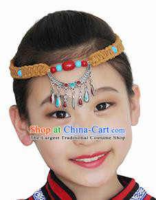 Chinese Mongolian Ethnic Hair Accessories Traditional Mongol Nationality Folk Dance Yellow Headband for Kids