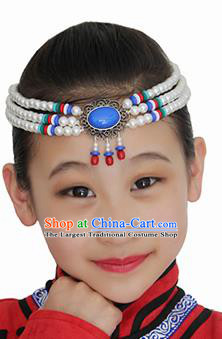 Chinese Mongolian Ethnic White Beads Tassel Hair Accessories Traditional Mongol Nationality Folk Dance Headband for Kids
