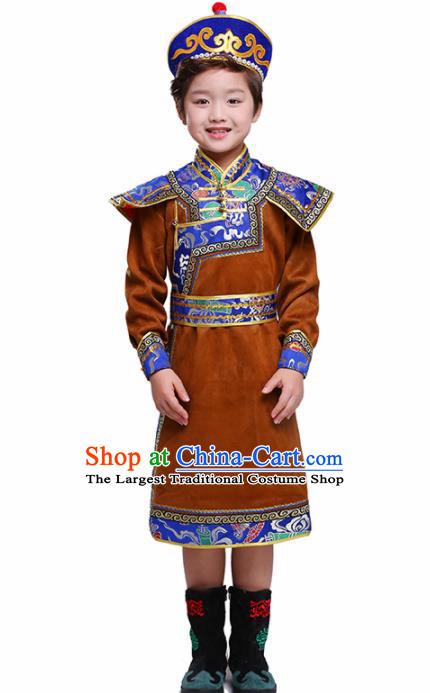 Chinese Ethnic Costume Brown Mongolian Dress Traditional Mongol Nationality Folk Dance Clothing for Kids