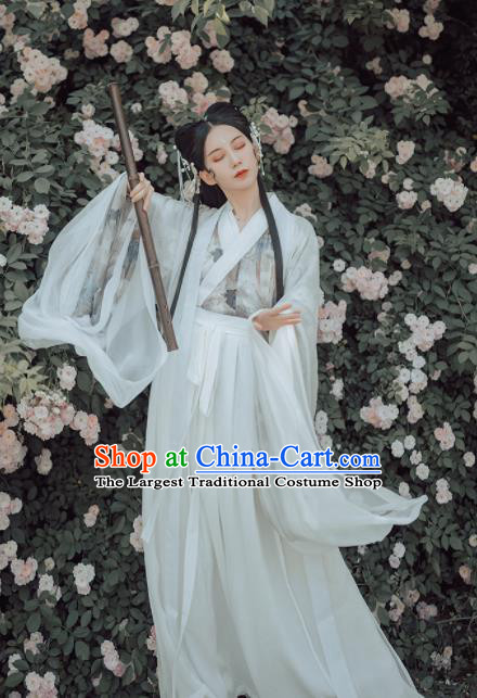 Chinese Ancient Court Lady White Hanfu Dress Traditional Jin Dynasty Palace Princess Historical Costume for Women
