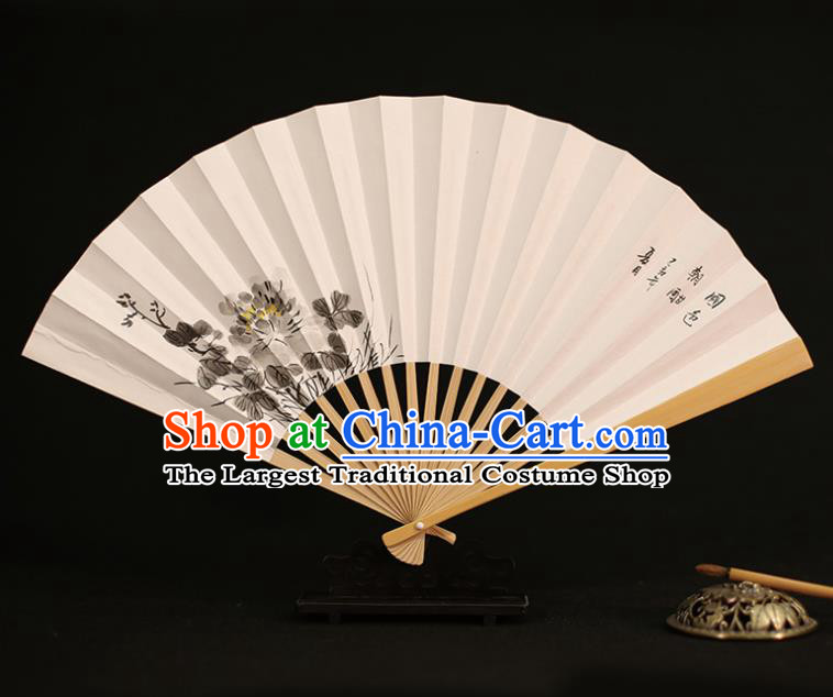 Chinese Traditional Ink Painting Peony Paper Folding Fans Classical Accordion Handmade Fans for Women