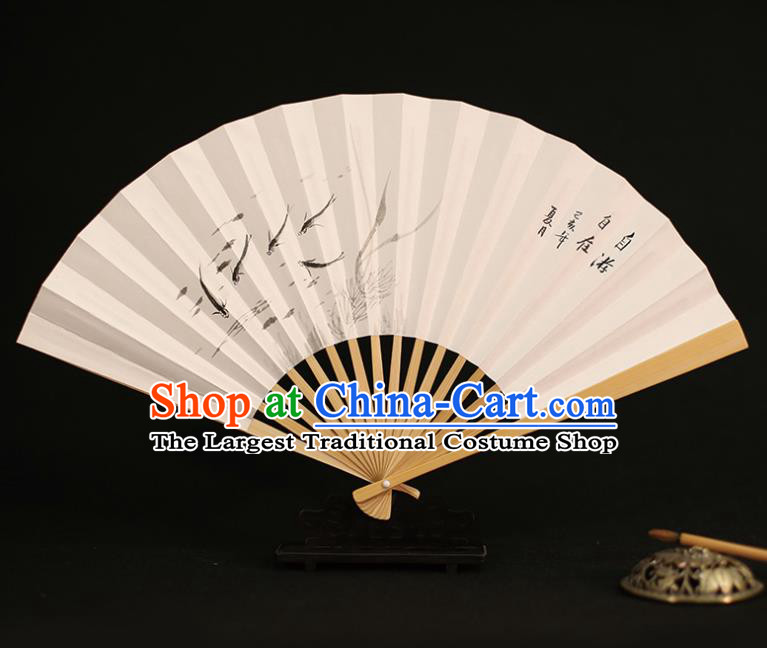 Chinese Traditional Ink Painting Fishes Paper Folding Fans Classical Accordion Handmade Fans for Women