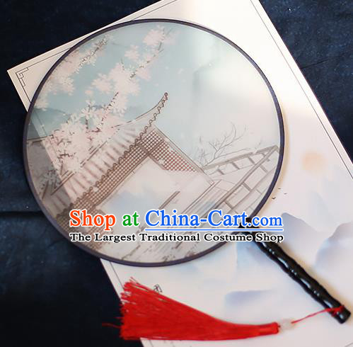 Chinese Traditional Printing Palace Silk Round Fans Handmade Classical Palace Fans for Women