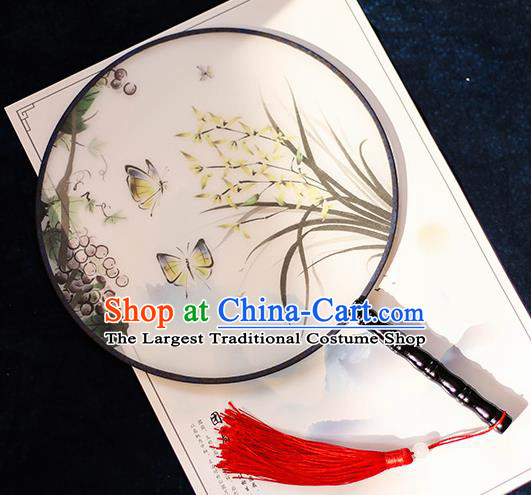 Chinese Traditional Printing Grape Orchid Silk Round Fans Handmade Classical Palace Fans for Women