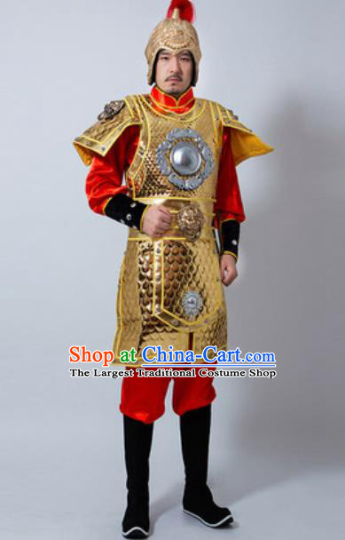 Chinese Ancient Drama Costume Han Dynasty General Golden Helmet and Armour Complete Set for Men