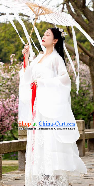 Chinese Ancient Palace Princess White Hanfu Dress Tang Dynasty Imperial Consort Historical Costume for Women