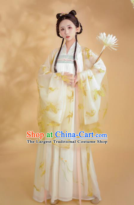 Chinese Ancient Court Princess Embroidered Hanfu Dress Tang Dynasty Historical Costume for Women