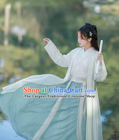 Chinese Ancient Nobility Lady Embroidered Hanfu Dress Song Dynasty Historical Costume for Women