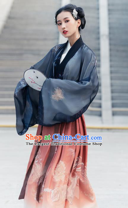Chinese Jin Dynasty Court Princess Historical Costume Traditional Ancient Peri Embroidered Hanfu Dress for Women