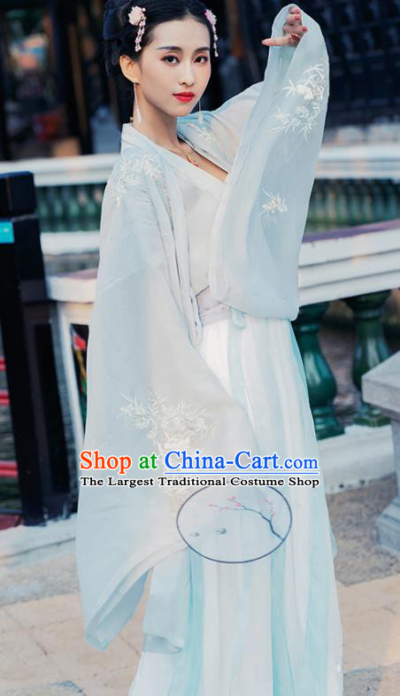 Chinese Tang Dynasty Court Imperial Consort Historical Costume Traditional Ancient Peri Embroidered Hanfu Dress for Women