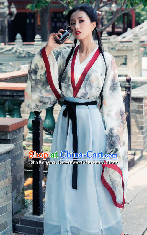 Ancient Chinese Jin Dynasty Historical Costume Traditional Court Princess Hanfu Dress for Women