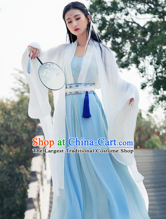 Ancient Chinese Peri Goddess Historical Costume Traditional Song Dynasty Nobility Lady Embroidered Hanfu Dress for Women