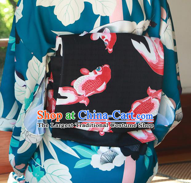 Japanese Traditional Printing Fishes Black Yukata Waistband Asian Japan Handmade Kimono Belts for Women