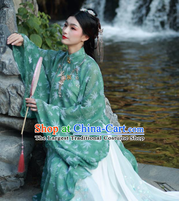 Ancient Chinese Ming Dynasty Dowager Historical Costume Traditional Nobility Lady Green Hanfu Dress for Women