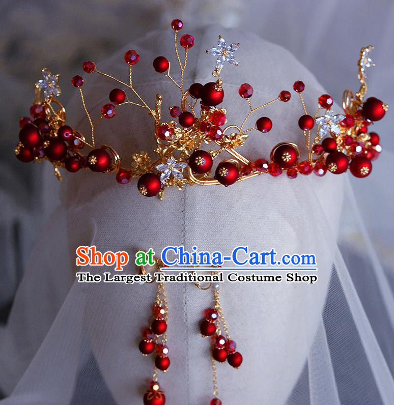 Handmade Wedding Hair Accessories Baroque Bride Red Beads Royal Crown for Women