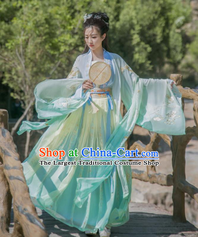 Chinese Song Dynasty Palace Princess Historical Costume Traditional Ancient Court Dance Green Hanfu Dress for Women