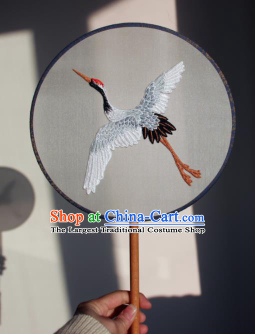 Traditional Chinese Ancient Palace Fans Handmade Hanfu Embroidered Crane Round Fan for Women