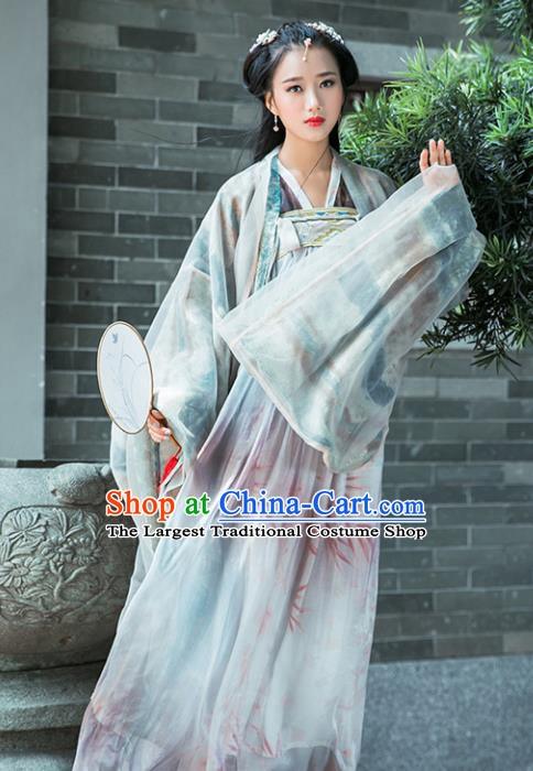 Chinese Tang Dynasty Imperial Consort Historical Costume Traditional Ancient Peri Embroidered Hanfu Dress for Women