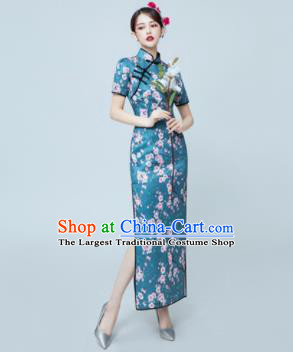 Chinese National Catwalks Blue Silk Cheongsam Traditional Costume Tang Suit Qipao Dress for Women