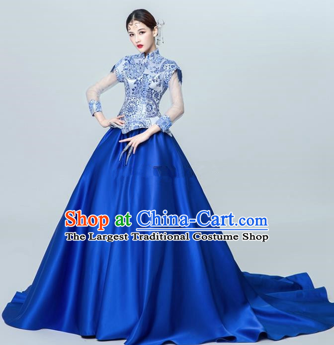 Chinese National Catwalks Blue Trailing Cheongsam Traditional Costume Tang Suit Silk Qipao Dress for Women