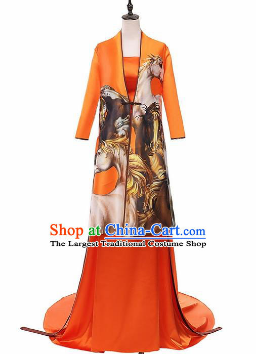 Chinese National Catwalks Printing Horse Silk Cheongsam Traditional Costume Tang Suit Qipao Dress for Women