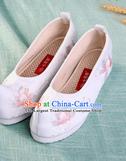 Chinese Traditional Hanfu Cloth Shoes Embroidered White Shoes Handmade Ancient Princess Shoes for Women
