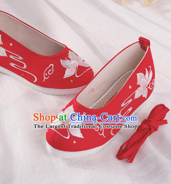 Chinese Traditional Hanfu Cloth Shoes Embroidered Red Shoes Handmade Ancient Princess Shoes for Women