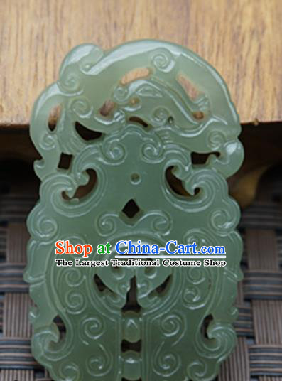 Handmade Chinese Ancient Jade Carving Dragon Pendant Traditional Jade Craft Jewelry Decoration Accessories
