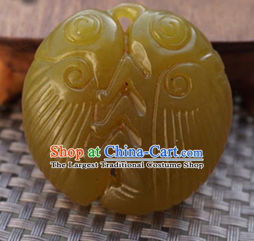 Chinese Handmade Jewelry Accessories Carving Cicada Jade Pendant Ancient Traditional Jade Craft Decoration