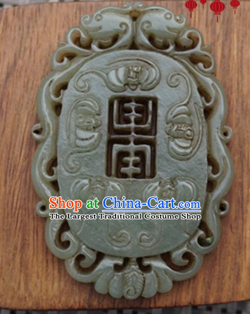 Chinese Handmade Jewelry Accessories Carving Bats Jade Pendant Ancient Traditional Jade Craft Decoration