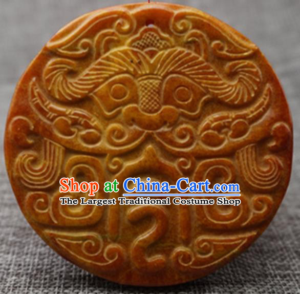 Chinese Handmade Jewelry Accessories Carving Beast Jade Pendant Ancient Traditional Jade Craft Decoration