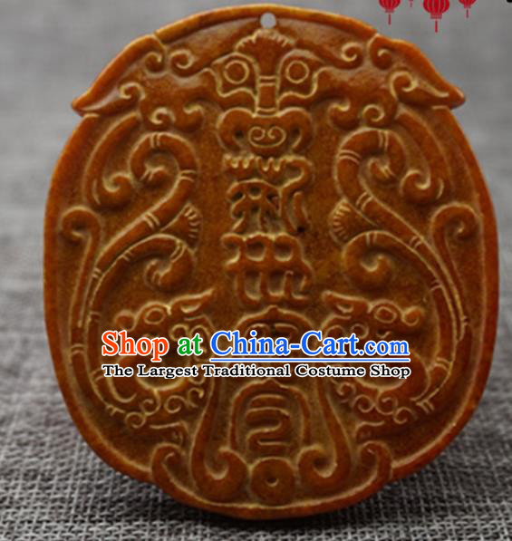 Chinese Handmade Jewelry Accessories Carving Dragons Jade Pendant Ancient Traditional Jade Craft Decoration