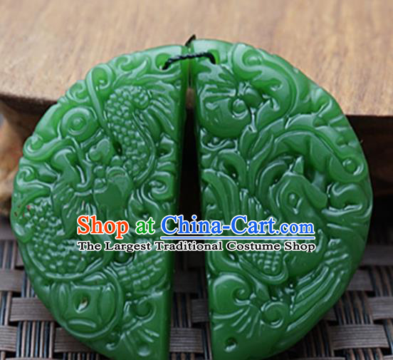Chinese Handmade Jewelry Accessories Carving Dragon Phoenix Green Jade Pendant Ancient Traditional Jade Craft Decoration