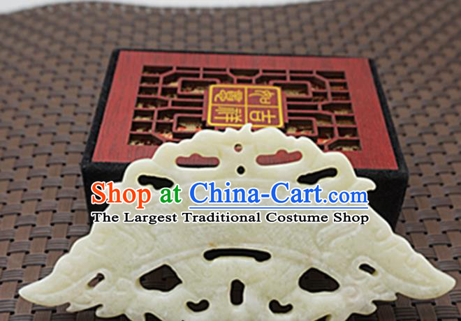 Chinese Handmade White Jade Carving Dragon Pendant Jewelry Accessories Ancient Traditional Jade Craft Decoration