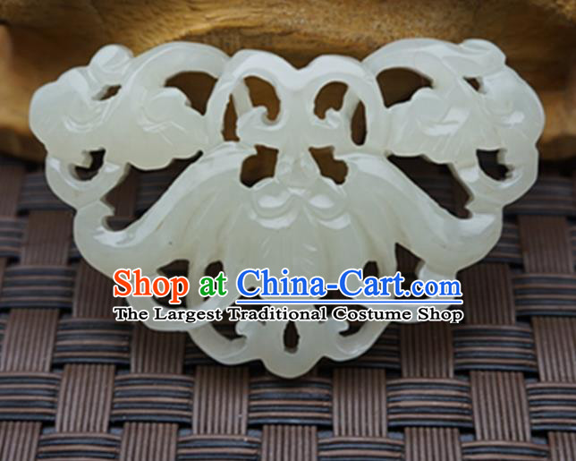 Chinese Handmade Carving Bat Jade Pendant Jewelry Accessories Ancient Traditional Jade Craft Decoration