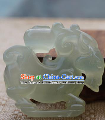 Chinese Handmade Jade Carving Sheep Pendant Jewelry Accessories Ancient Traditional Jade Craft Decoration
