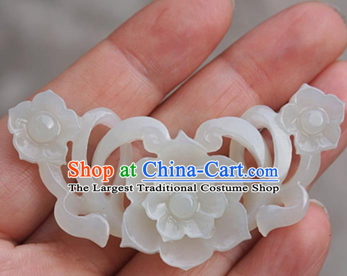 Chinese Handmade Jade Carving Flower Pendant Jewelry Accessories Ancient Traditional Jade Craft Decoration