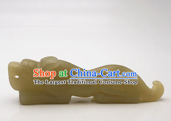 Handmade Chinese Ancient Jade Carving Tiger Seal Pendant Traditional Jade Craft Jewelry Decoration Accessories