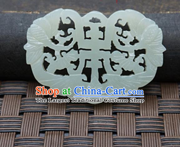 Handmade Chinese Ancient Carving Bat Jade Pendant Traditional Jade Craft Jewelry Decoration Accessories