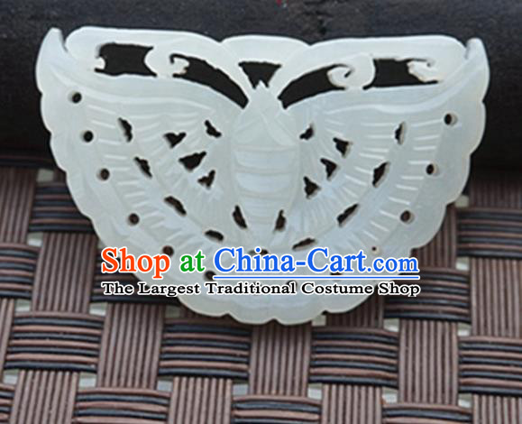 Handmade Chinese Ancient Carving Butterfly Jade Pendant Traditional Jade Craft Jewelry Decoration Accessories