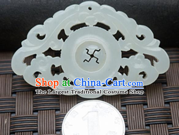 Chinese Ancient Carving Bat Brooch Jade Pendant Traditional Handmade Jade Craft Jewelry Decoration Accessories