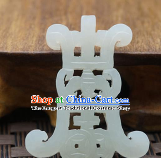 Chinese Ancient Jewelry Accessories Carving Bat Jade Pendant Traditional Handmade Jade Craft Decoration