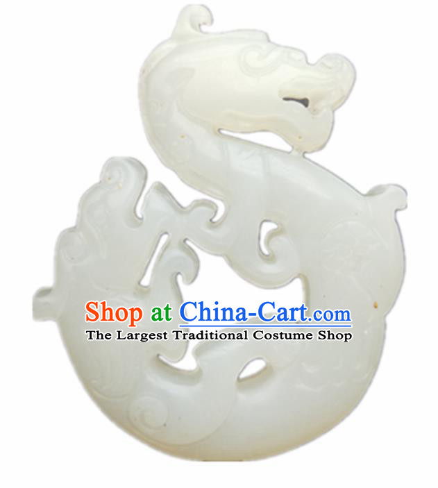 Chinese Ancient Jewelry Accessories Carving Dragon White Jade Pendant Traditional Handmade Jade Craft Decoration