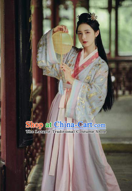 Chinese Ancient Court Princess Hanfu Dress Traditional Drama Jin Dynasty Historical Costume for Women